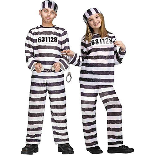 Kids Jailbird Inmate Convict Small Halloween Costume 4-6 -