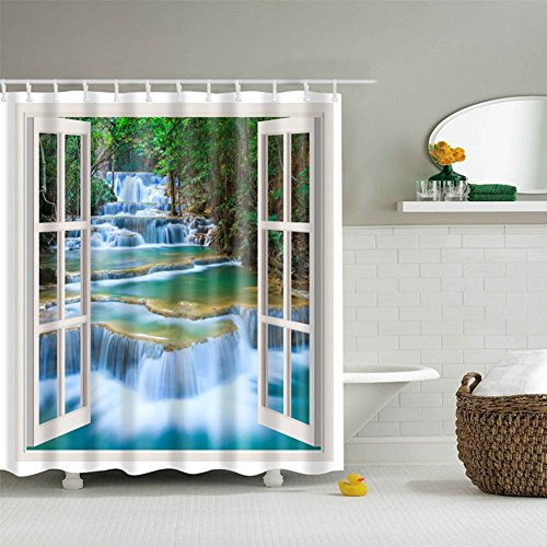 Jineams Jungle Bathroom Printed Decorative Shower Curtain Landscape Natural Scenery Wood Window Panorama Art Deco Shower Curtain (Art Deco Window)