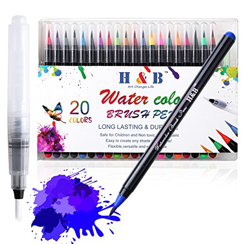 Femor Watercolor Brush Pens Set 20 Watercolor Paint Markers and 1 Water Brush Pen with Soft Flexible Brush, Watercolor Pens for Adults & Kids Coloring, Painting & More, Ideal for Kids