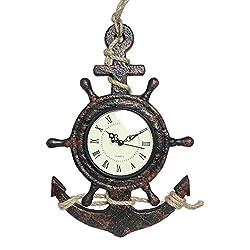 MayRich 13 x 9 Ship Wheel & Anchor Quartz Wall Clock