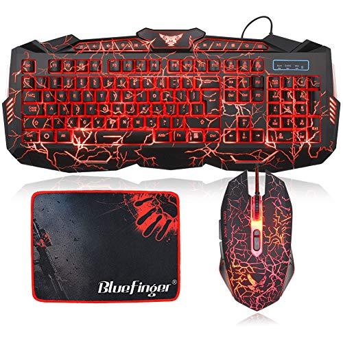 BlueFinger Backlit Gaming Keyboard and Mouse Combo,USB Wired Keyboard Mouse Combo,114 Keys Letters Glow,3 Color Blue/Red/Purple Crack Backlit,Keyboard Mouse Bundle for Game and Work