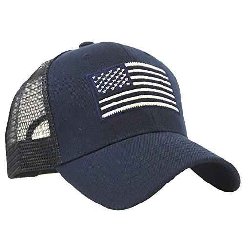 (USA Flag Patch Tactical Style Mesh Trucker Baseball Cap Hat)