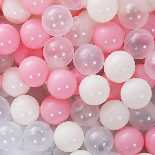 PlayMaty 100 Pieces Colorful Pit Balls Phthalate Free BPA Free Plastic Ocean Balls Crush Proof Stress Balls for Kids Playhouse Pool Ball Pit Accessories 2.1 Inches (100 Balls-Pink)