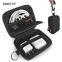 AirPods Travel Case - AhaStyle Premium EVA Case for Apple AirPods [Holds AirPods, Wall Charger, Lightning Cable and AirPods Earhooks] [Carabiner included]-(4 in 1 Black)