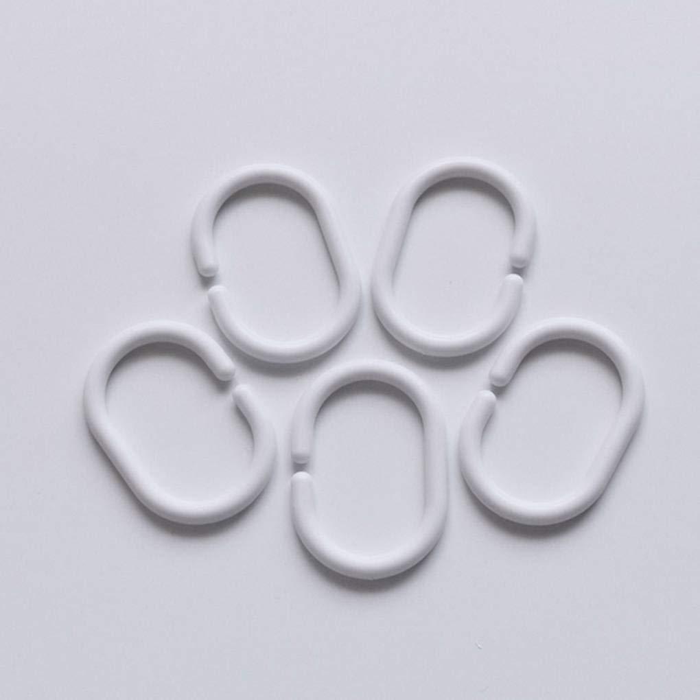 Set La Forma de pl/ástico Blanco de ba/ño de Ducha Cortina del Anillo del Lazo Bendable Ganchos de la Cortina de ba/ño Busirde 24pcs