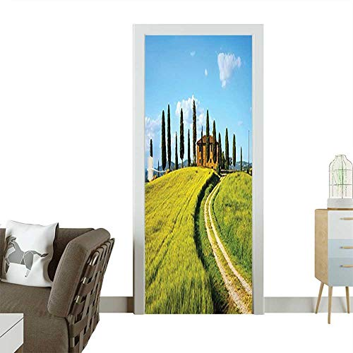 (Door Sticker Wallpaper Small Square Between Medieval Houses in Tuscan Village Print Accessories Dark O Fashion and Various patternW32 x H80 INCH)