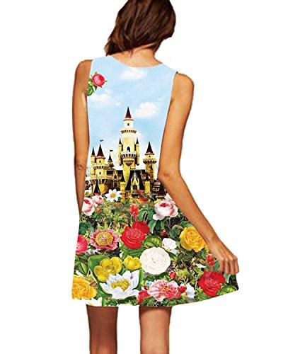 Auxo Mujeres Mini A Vestidos Boho para Mujer sin Hombros Faldas Cortas Pinturas Estilo Dos