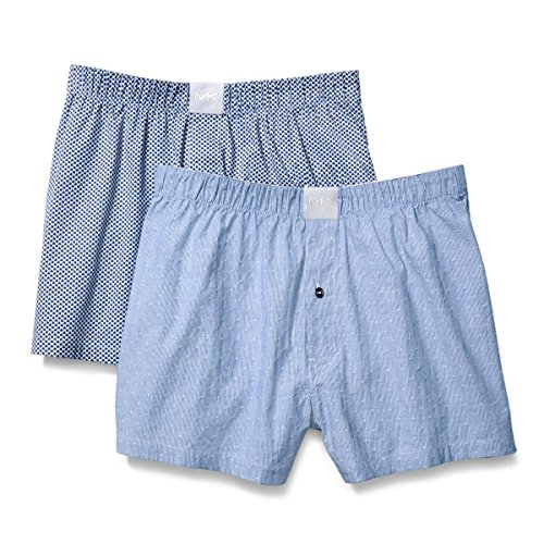 Michael Kors Men's Cotton Underwear Airsoft Touch Stretch Woven Boxers 2-Pack S83W1052 (Turqouise Dobby/Spade, Small)