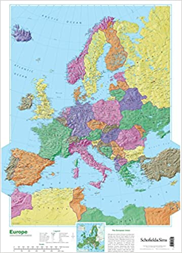 Map Of The Uk And Europe.Map Of Europe Amazon Co Uk Schofield Sims 9780721709345 Books