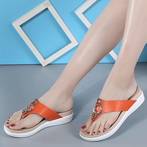 Qingchunhuangtang@ Sandalen Dick Rutschfeste Unterseite Schleppen Fuß Sandalen Qingchunhuangtang@ Sandalen Orange b4dd74