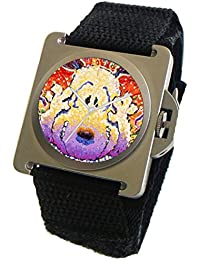 """Snoopy By Everhart"" Featuring Tom Everhart's Image of Snoopy in ""Nobody Barks in L.A."" on the Dial of the ""Nobody Barks In L.A."" by Tom Everhart Stainless Steel Watch With A Black Wide Cuff Strap"