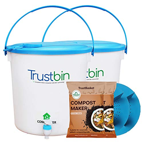 Trust Basket Trustbin (Set Of Two 14 Litres Bins)-Indoor Compost Bin For Converting All Kinds Of Kitchen Food Waste Into…