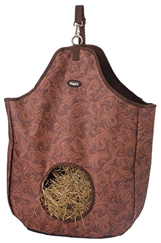 Tough 1 Nylon Hay Tote Bag in Prints, Tooled Leather Brown