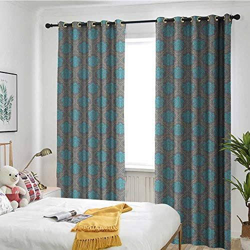 (TRTK Decorative Curtains for Living Room Shading Insulation Cable Ring Screen 2 Panel Damask,Venetian Style Damask Swirled Lines and Blossoms Italian Artful Flourish Cocoa Sky Blue Yellow)