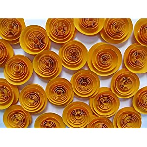 """Gold Paper Flowers Set of 24, 1.5"""" Roses, Floral Decor Accent, Golden Years 50th Anniversary Party Decorations, 3D Table Scatter or Runner 36"""
