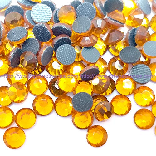 Qrhinestones 1440pcs Hotfix Rhinestones Iron-On Crystal Embellishments ss16 4mm (Topaz (Golden))