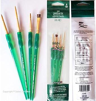 Juego de 4 brochas Seda Natural, brocha Plana, épointé, localizador, Redondo, para Pintura acrílica y Aceite, One Stroke: Amazon.es: Hogar