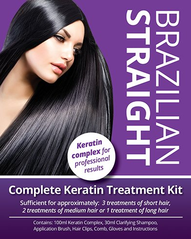 Brazilian Straight, Keratin Home Use Treatment Kit, Salon Quality Hair Straightening / Blow Dry / Smoothing, 100ml, Great Gift / Present 33233