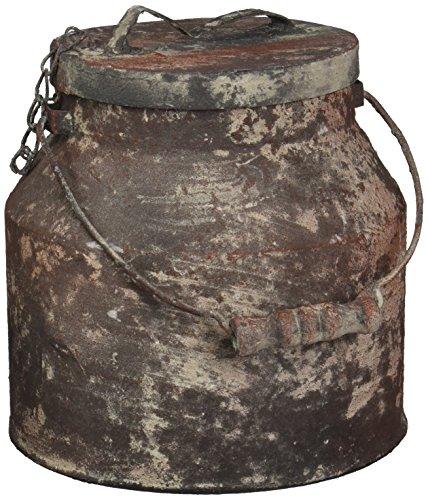 Your Hearts Delight Wood Handle Milk Bucket Decor with Lid, 7 by 7-Inch, Rusty (Bucket Rusty)