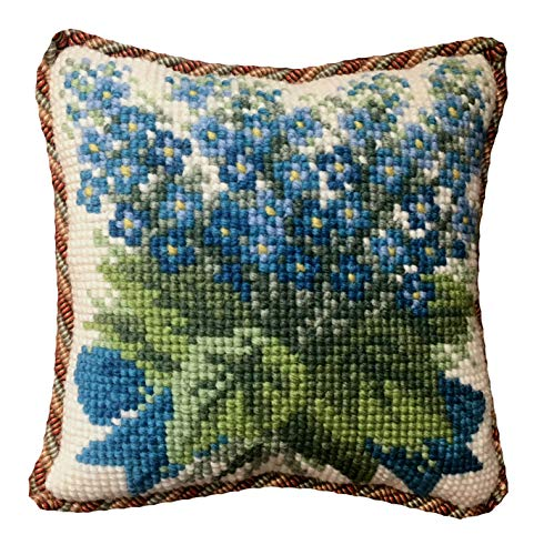 - Forget-Me-Not Mini Needlepoint Tapestry Kit from Elizabeth Bradley premium English needlework project with 100% wool yarns