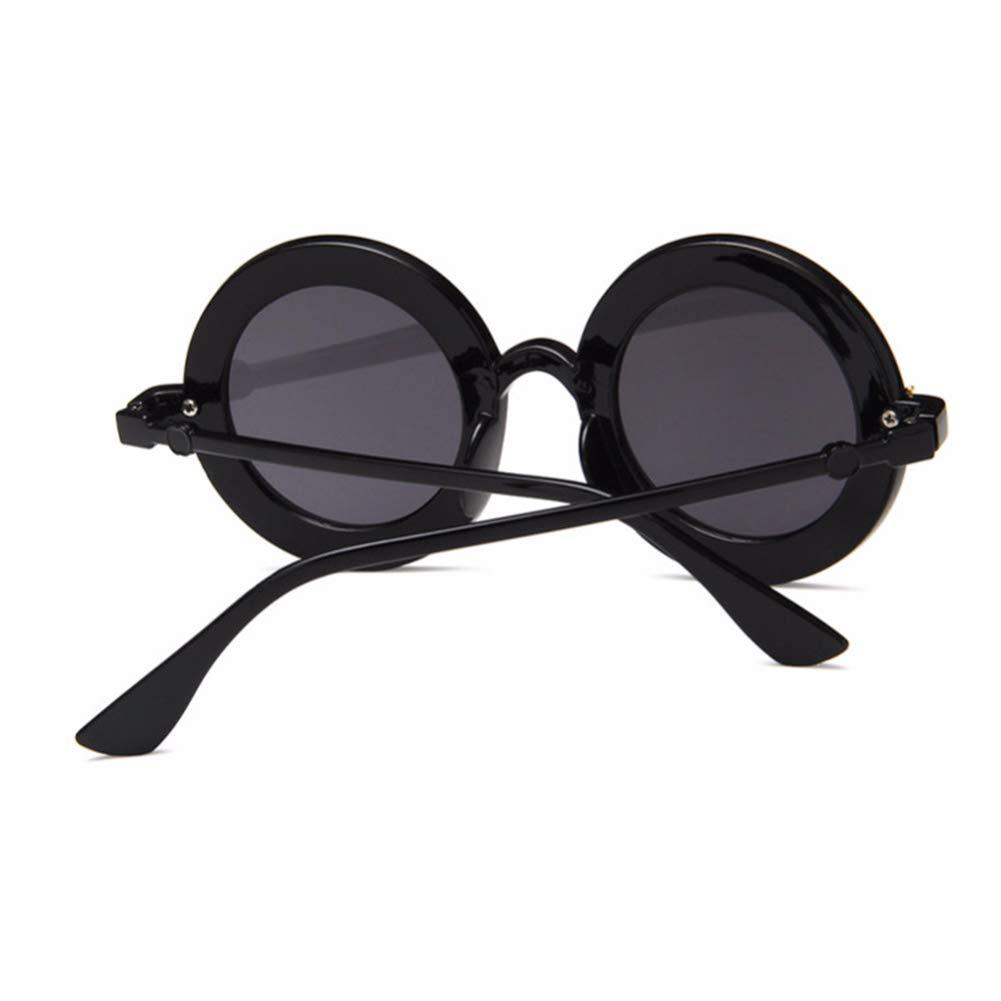 Black Topsair Retro Fashion Letter Round Frame Anti-UV Sunglasses