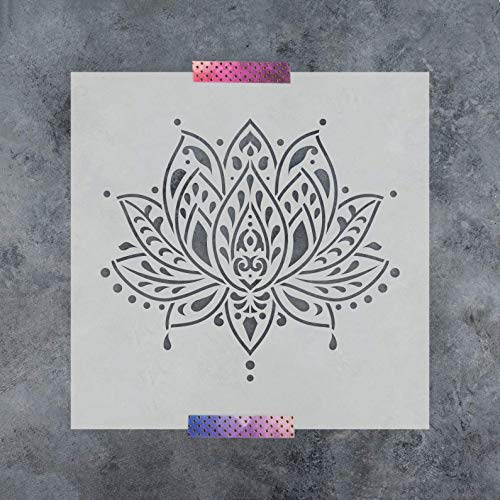 Sacred Lotus Flower Stencil Template for Walls and Crafts - Reusable Stencils for Painting in Small & Large Sizes