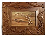 Koa Wood Handcrafted 4''x6'' Picture Frame, HAWAII Ocean Life w/Dolphin, Fish, & Turtle Design