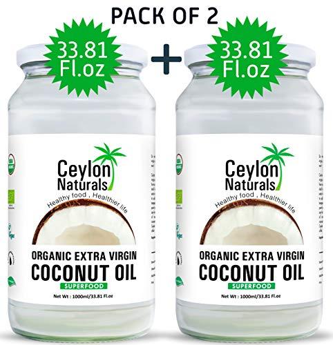 Ceylon Naturals Organic Extra Virgin Coconut oil From Sri Lanka, Raw and Unrefined Cold Pressed Coconut oil for Hair, Skin, Cooking and Natural baby care, 33.8oz (Pack Of 2) (Organic Extra Virgin Coconut Oil Sri Lanka)