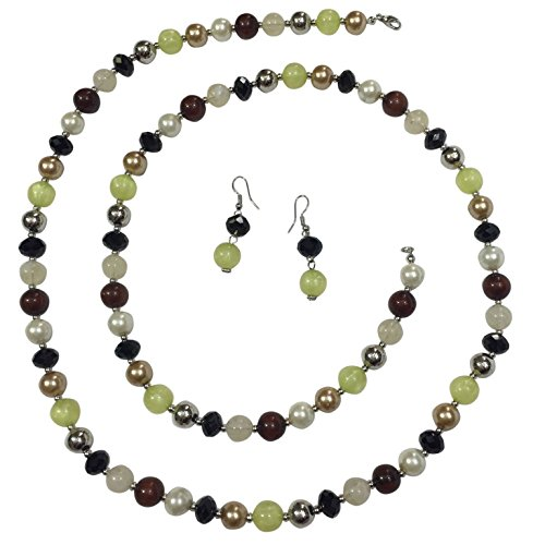 (Gypsy Jewels Long Imitation Pearl Resin & Glass Bead Single Strand Necklace & Earring Set - Assorted Colors (Brown Black Mint Green White Silver tone))