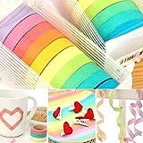 10x Writable Rolls Paper Washi Masking Tape Sticky Adhesive Rainbow Colours