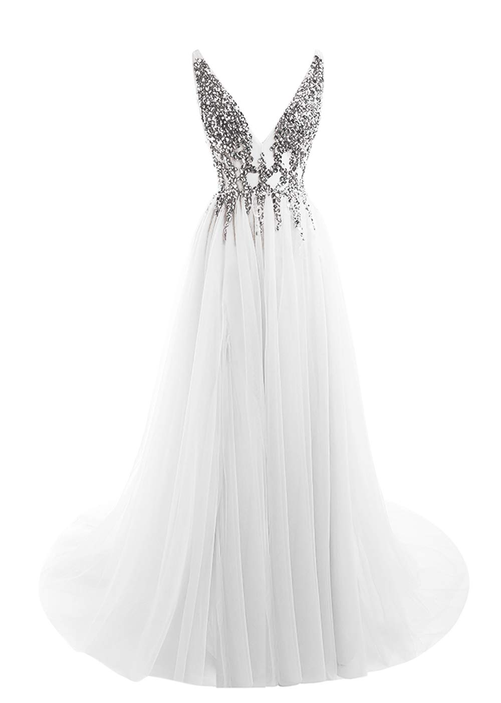 Prom Dresses Deep V Neck Sequins Tulle and Lace Sex High Split Long Evening Dresses HFY170503-White-US10 by HONGFUYU