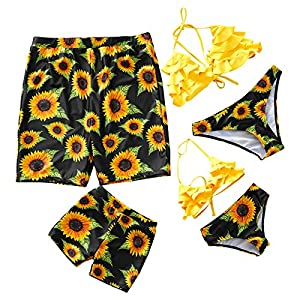 IFFEI Two Piece Off Shoulder Sunflower Bikini Family Matching Swimwear Newest 2020 Swimsuits