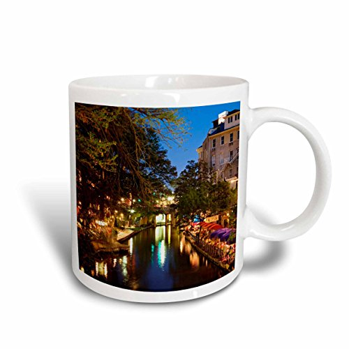 3dRose mug_94355_2 Outdoor cafe, River Walk, San Antonio, Texas US44 AJE0024 Adam Jones Ceramic Mug, 15 oz, - Antonio In Outlets Texas San