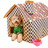 Outdoor Grid Cotton Washable Pet Dog Cat Bed Chimney House Free Mini Pillow (coffee)