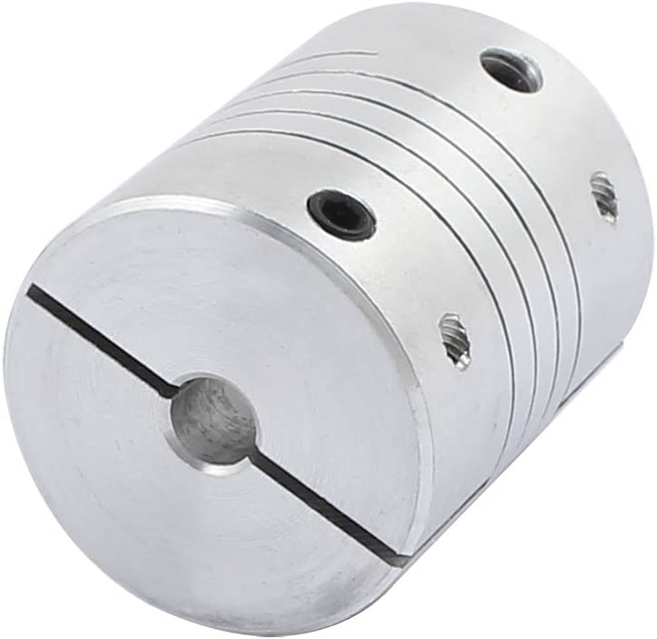 sourcing map 5mmx12mm Aluminum Accouplement h/élico/ïdal flexible darbre de spline dalliage D25L30