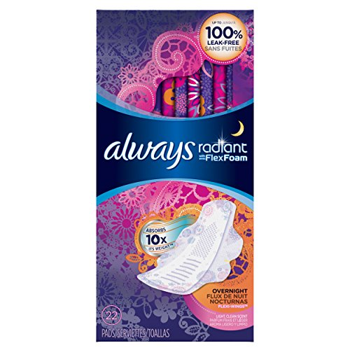 Always Radiant Feminine Pads for Women, Size 4, Overnight, Light, Clean Scented, 20 Count (Pack of 3)