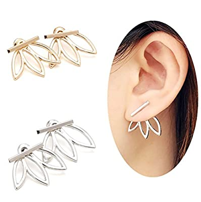 OREOLLE Lotus Flower Earrings lightweight Ear Cuffs Stud Earrings Jackets Elegant Fashionable (2 Pairs)