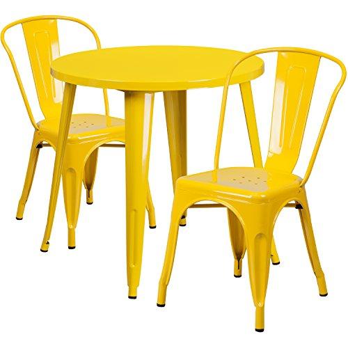 Flash Furniture 30'' Round Yellow Metal Indoor-Outdoor Table