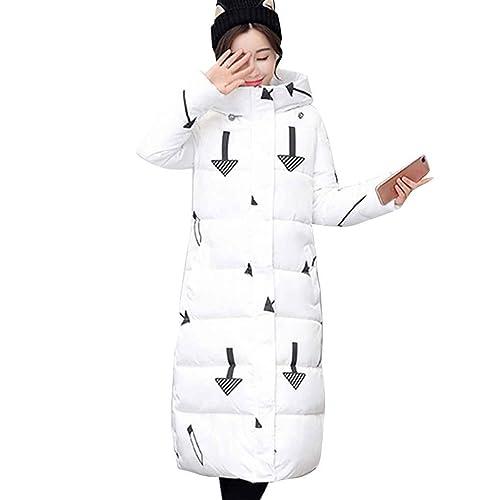 Mujeres impresas hasta la chaqueta de algod¨®n de longitud de la rodilla de abrigo con capucha Parka...