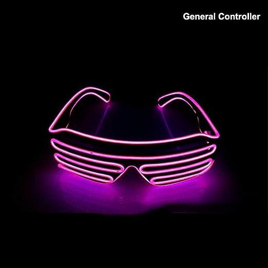 Verde LED Luz de Neón El Alambre Brillo en forma de Obturador Gafas De Sol Fiesta De Disfraces
