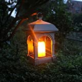 Vktech Candle Lantern with Flameless Flickering LED Candle Waterproof IP44 Solar Decorative Light Design for Garden Restaurant Coffee Shops Driveway Deck (Bronze)