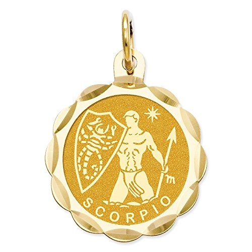 Best Designer Jewelry 14k Satin Polished Engravable Scorpio Zodiac Scalloped Disc Charm
