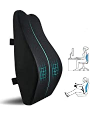 (Black) - Lumbr Support Pillow for Office Chair,Memory Foam Back Cushion for Car Seat,Chair,Computer Desk Chairs,Large Ergonomic Back Pillow for Back Pain Relief,Dual Available Straps with 3D Cover...