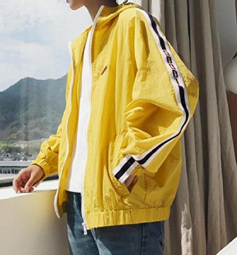 Allentato Uomini Semplicità Incappucciato Elegante Di Full Giallo Sottile Cappotto Doufine Solare Zip Protezione w8TnqIzH4