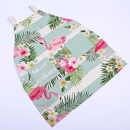 Flamingo Apron (Adjustable Aprons for Women with pockets Funny Red Flamingo Flowers(Type1, XL))