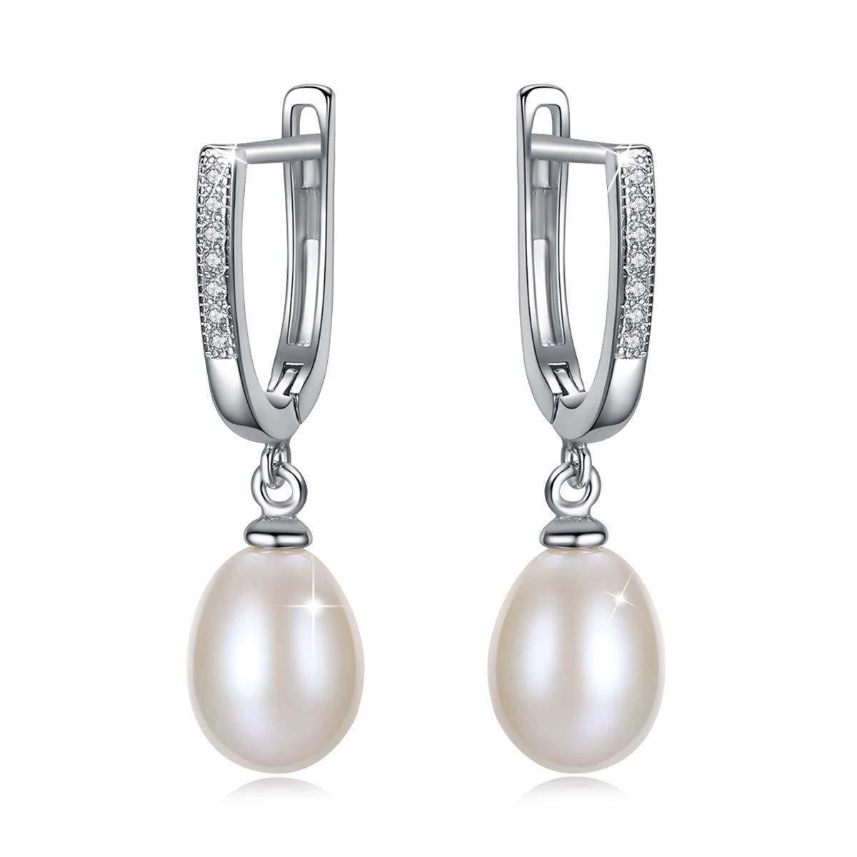 PEARLOVE Freshwater Pearl Hoop Earrings 5A Cubic Zircon 925 Sterling Silver Dangle Channel Set Drop Horseshoe Earring Studs