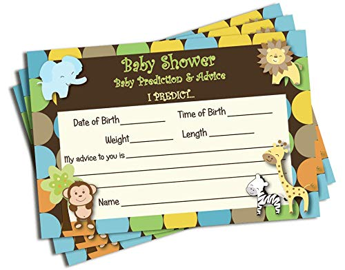 50 Baby Shower Advice & Prediction Cards for Mom King of Jungle Animal Themed Games (50-cards) -