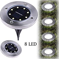 Letdown 1PC 8 LED Solar Power Buried Light Under Ground Lamp - Bright Light Stainless Steel Warm White LED Lighting
