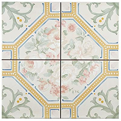 "SomerTile FPEVLURE Victoriano Ceramic Floor and Wall Tile, 13"" x 13"", Green/White/Yellow/Pink/Blue"