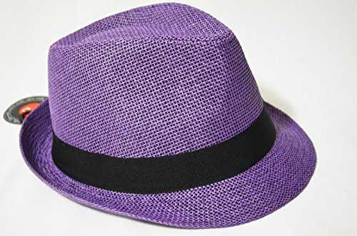 Purple Summer Women Colorful Straw Fedora Stingy Brim Tri...